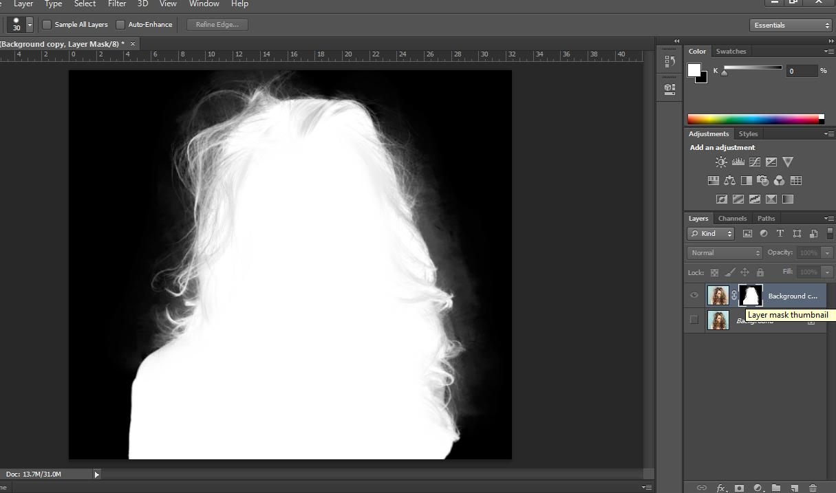 Giờ mình muốn cái vùng lem nhem kia nó thành màu đen để nó trùng với màu nền chứ không phải màu xám xám như thế nữa. \u2013 Chọn công cụ Brush (D).